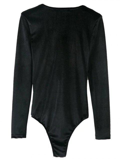 lady Bowknot Cut Out Bodysuit - BLACK L Mobile