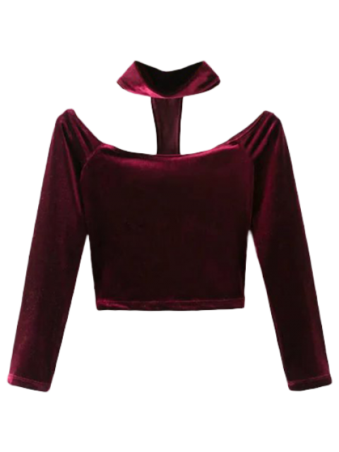 lady Choker T-Back Velvet Cop Top - WINE RED S Mobile