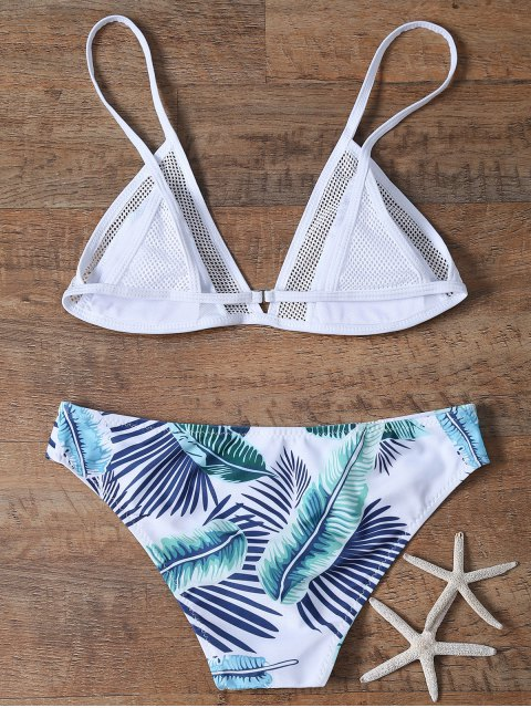 shop Mesh Panel Plunge Bikini - WHITE S Mobile