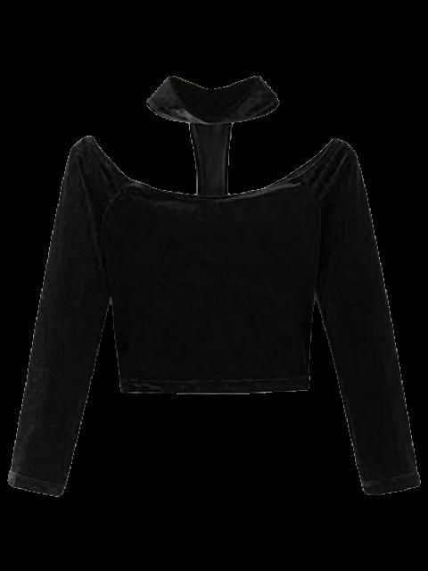 hot Choker T-Back Velvet Cop Top - BLACK S Mobile