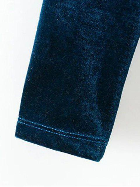 Crop top en velours avec collier ras du cou à dos nageur - Bleu canard M Mobile