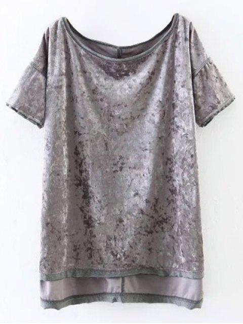 latest Slit High Low Velvet T-Shirt - GRAY S Mobile