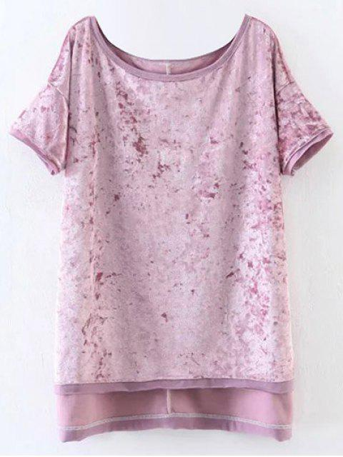 Slit High Low Samt T-Shirt - Pink M Mobile