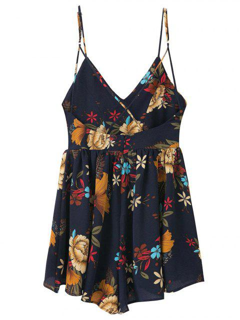 affordable Cross Back Floral Cami Romper - PURPLISH BLUE M Mobile