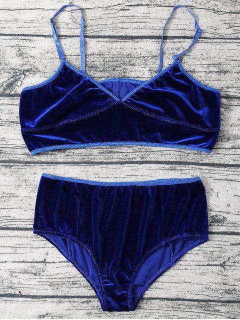 online Cami Textured Velvet Bra - DEEP BLUE L Mobile