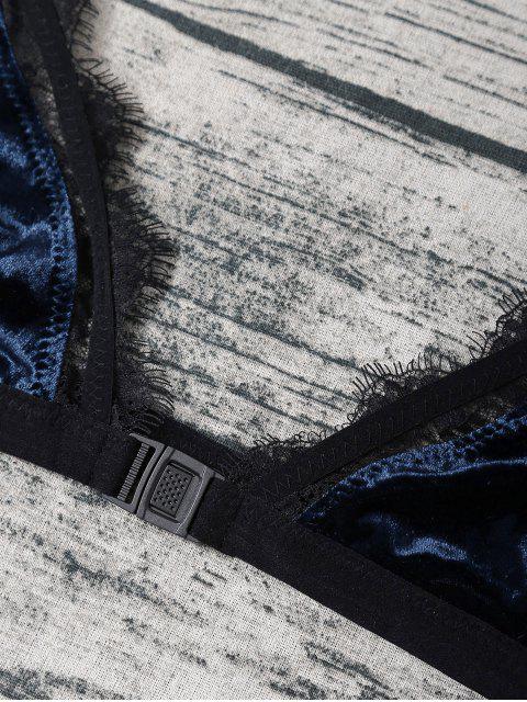 hot Frayed Lace Panel Velvet Bra Set - DEEP BLUE M Mobile
