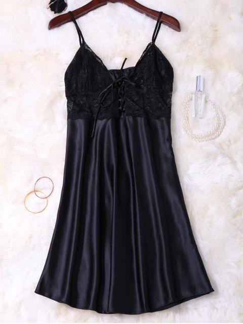 outfits Cami Lace Up Lace Panelled Babydoll - BLACK L Mobile