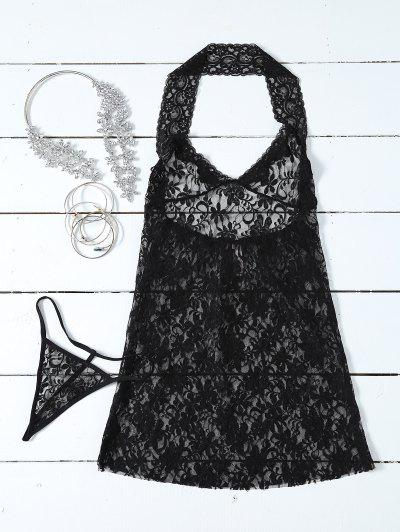 Halterneck Black Lace Babydoll