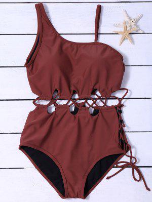 Slimming Lacing Asymmetric Swimsuit - Burgundy 2xl