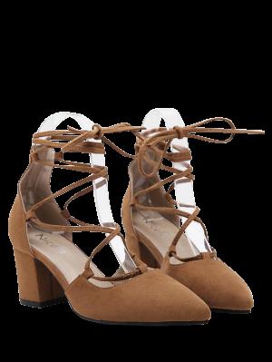 Escarpins à bouts pointus avec talons épais et lacets