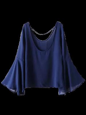 Alargamento Da Luva De Cordas Blusa - Cadetblue M
