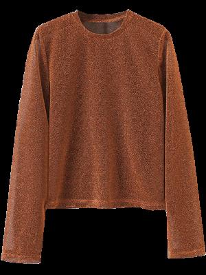 Jewel Neck Long Sleeve Tee - Brown S