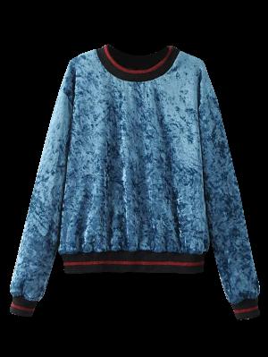 Suelta La Camiseta De Terciopelo Arrugado - Azul S