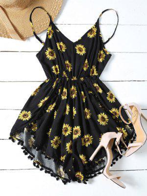Sunflower Print Cami Beach Romper - Black L