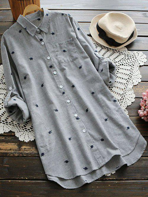 Leaf Embroidered Pocket Striped Tunic Shirt