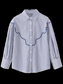 Chemise Ample Brodée à Rayures - Rayure S