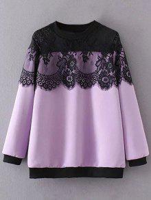 Sheer Shoulder Lace Insert Sweatshirt - Light Purple 2xl
