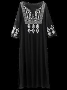 Retro Bordado Vestido De Corte Lateral - Negro Xl