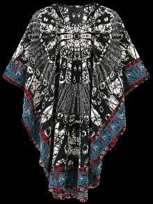 Estampado Tribal De Gran Tamaño Vestido De Kimono - Multicolor L