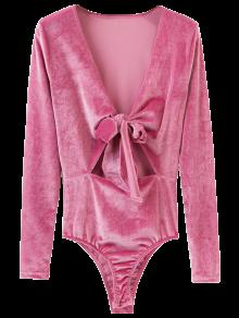 Bowknot Cut Out Bodysuit - Pink M