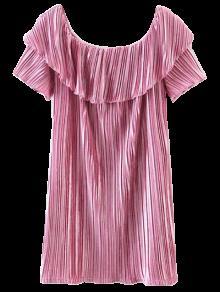Off The Shoulder Crushed Velvet Mini Dress - Pink S