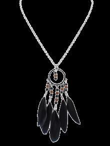 Collier De Perles Et De Plumes En Style Bohémien - Noir