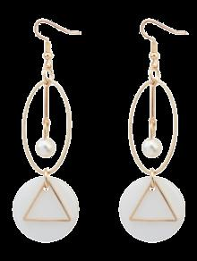 Artificial Pearl Geometric Drop Earrings - Golden