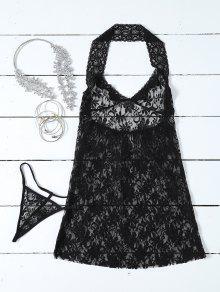 See-Through Lace Halterneck Babydoll - Black