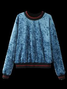 Loose Crushed Velvet Sweatshirt - Blue S