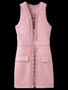 Robe Gilet Moulante Lacée Haut En Suédé - Rose PÂle L