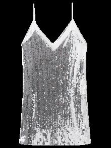 Plunging Neck Sequins Cami Dress - Silver L