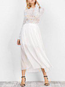 الكروشيه طويل الأكمام شير سوينغ فستان حفلة موسيقية - أبيض M