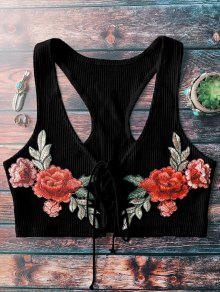 Lace Up Embroidered Knitted Cropped Tank Top - Black
