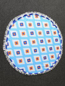 Geometric Print Tapestry Beach Throw - Blue
