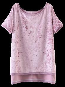 Alta De Hendidura La Terciopelo Rosado De M Camiseta Baja g5qUO