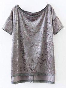 Hendidura De Alta Terciopelo De La Camiseta Baja - Gris S