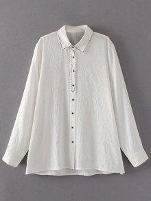 Embroidered Single-Breasted Linen Shirt - White M
