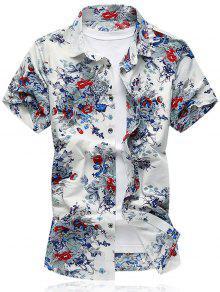 زهرة المطبوعة قصيرة الأكمام قميص - أبيض M
