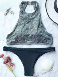 Bikini Cuello Alto Acolchado - Gris L