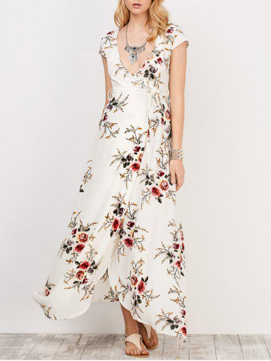 unique Floral Print Short Sleeve Maxi Wrap Dress - WHITE S