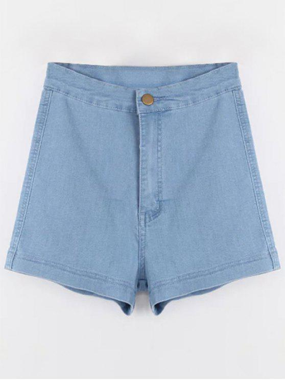 chic High Waisted Denim Shorts - LIGHT BLUE S
