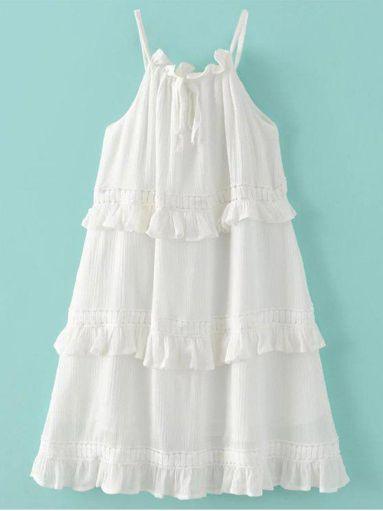 Scivolare Layered Ruffle legame del collo Dress - Bianco M