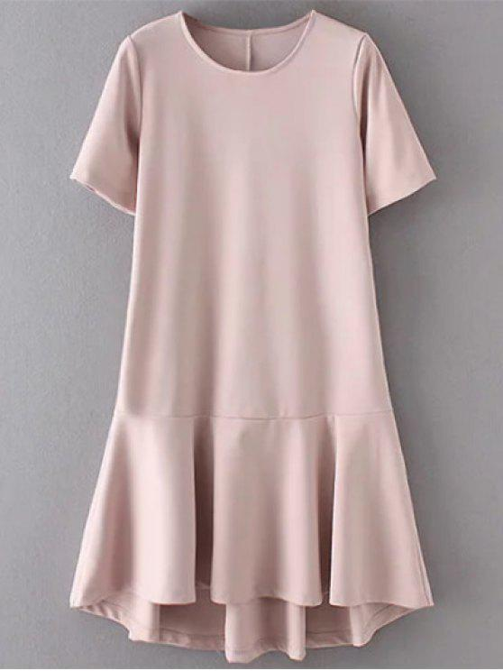 affordable Ruffle Hem High Low Dress - PALE PINKISH GREY S