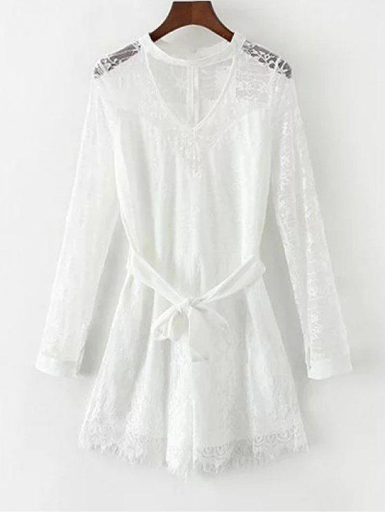 shop Choker Lace Sheer Romper With Tie Belt - WHITE L