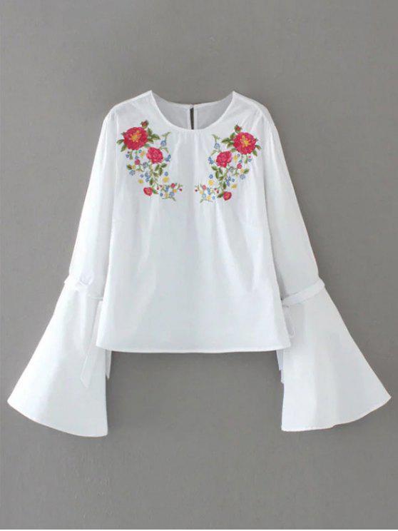 بلوزة توهج الأكمام مطرزة بالأزهار - أبيض L