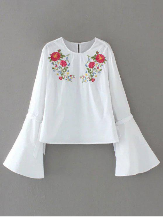women Floral Embroidered Flare Sleeve Blouse - WHITE S