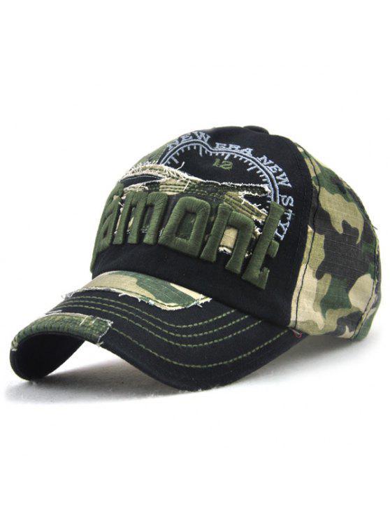 التمويه رسائل التطريز تقسم قبعة بيسبول - أسود