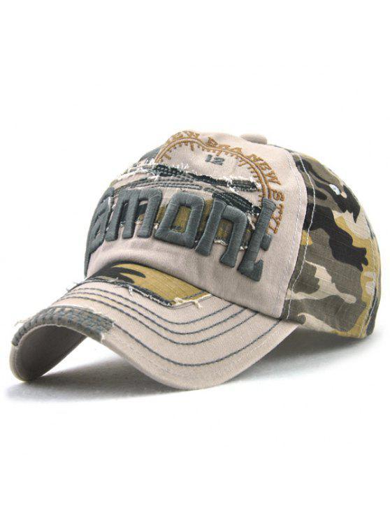 Camouflage lettere ricamo Spliced cappello da baseball - Cachi Chiaro