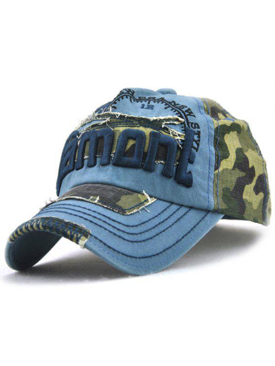 Camouflage lettere ricamo Spliced cappello da baseball - Blu Denim