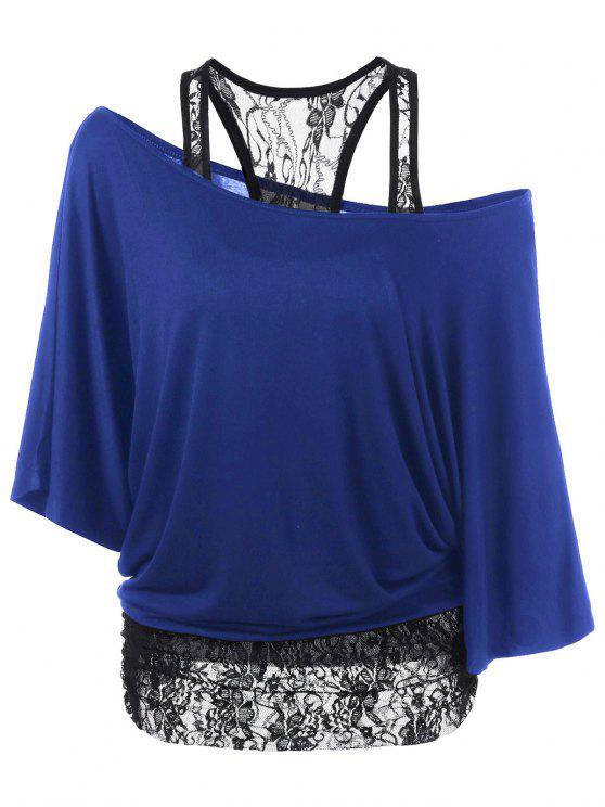T-Shirt Encolure Cloutée à Empiècement en Dentelle - Bleu M
